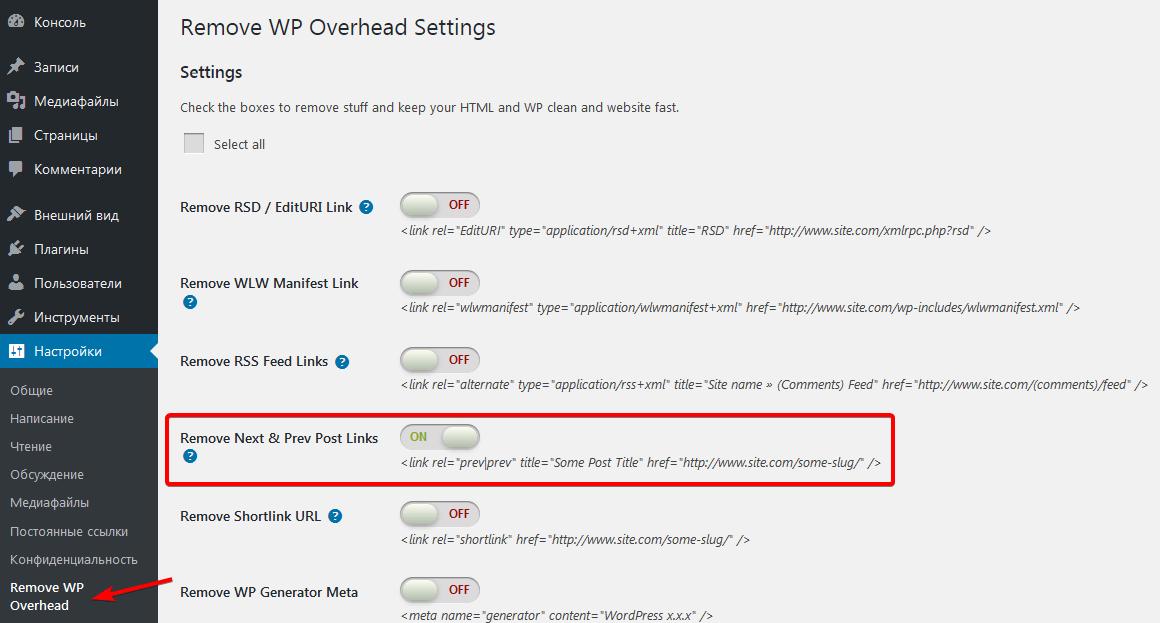 Страница настроек плагина Remove WordPress Overhead