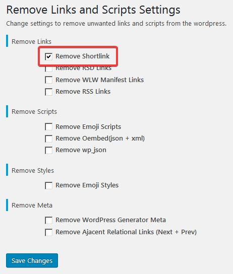 Удаление короткой ссылки в Remove Links and Scripts