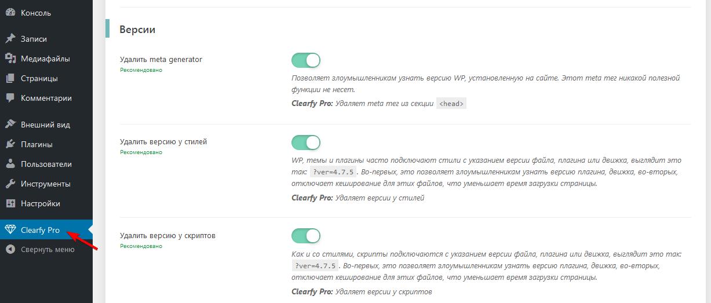 Сокрытие версии WordPress в Clearfy Pro