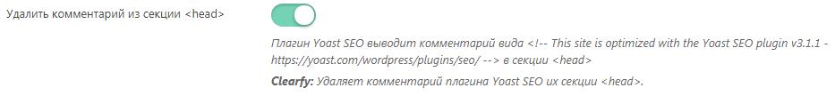Удаление комментария из секции <head> в плагине Clearfy Pro