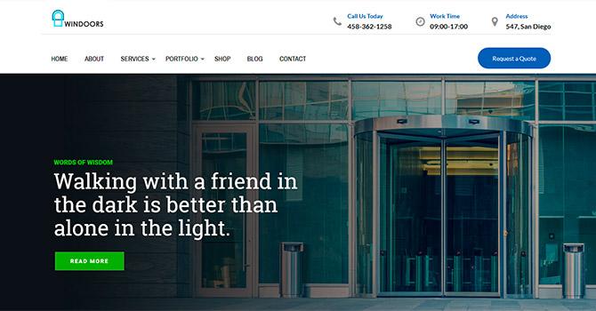 Демо сайт с шаблоном Windows & Doors