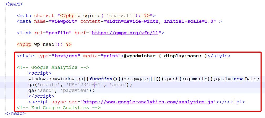 Добавленный код в раздел <head>