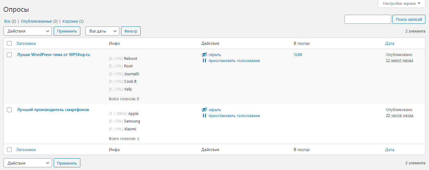 Список опросов в плагине Expert Review