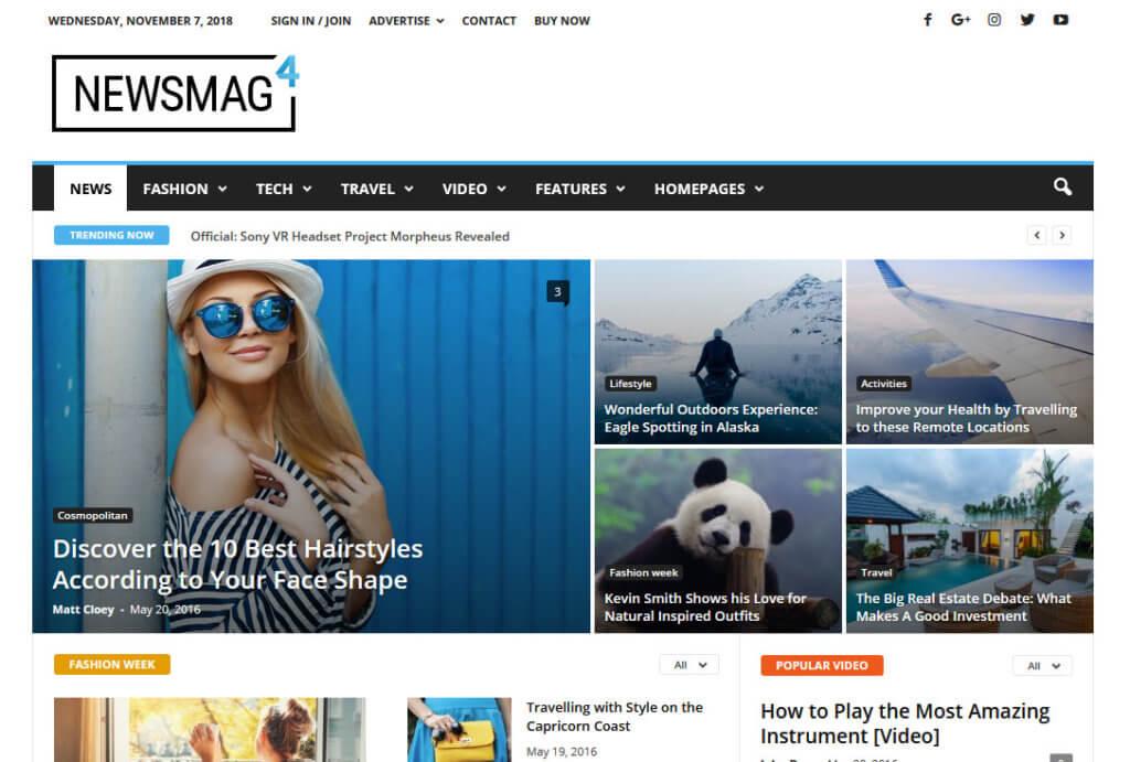 Демо-сайт с ВП-темой Newsmag