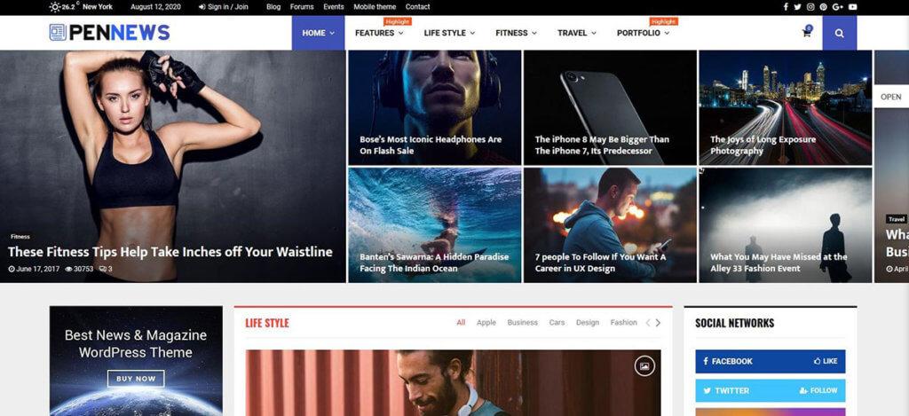 Демо-сайт на основе WP-темы PenNews