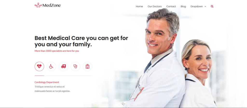 Демо-сайт на основе темы MedZone