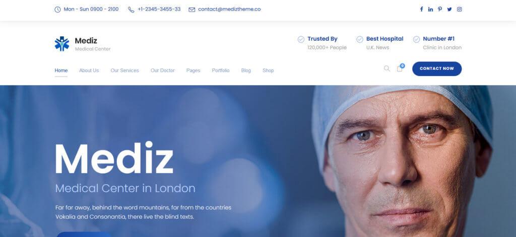 Демо-сайт на основе темы Mediz