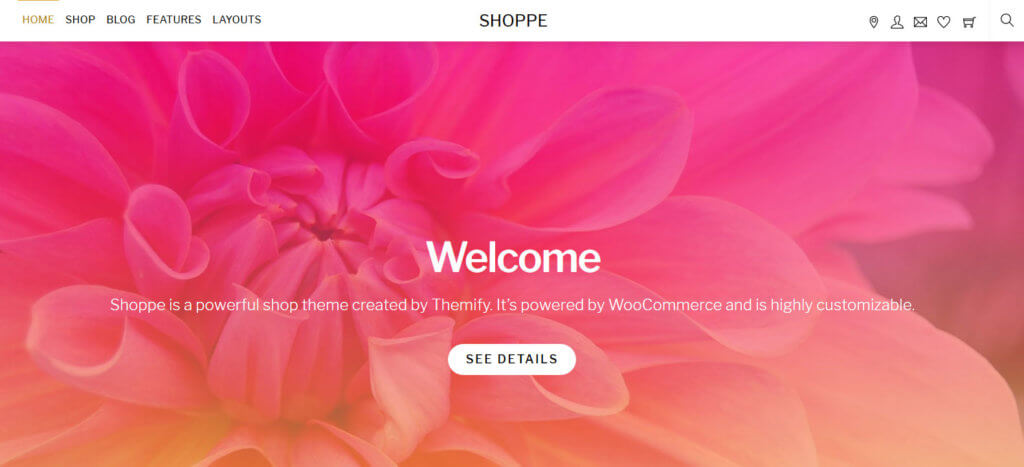 Демо-сайт на основе темы Shoppe