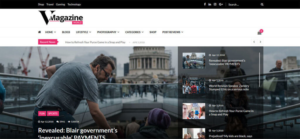 Тема WordPress VMagazine